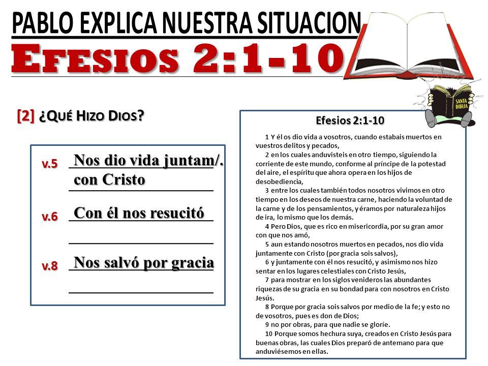 Efesios 2:1-10 [2] ¿Qué Hizo Dios Nos dio vida juntam/. con Cristo